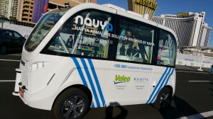 NAVYA ARMA self-driving electric shuttle bus that will debut in downtown Las Vegas.