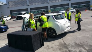 Nissan Regional EV Sales Manager Valerie Kornahrens and Roland Lewis, Fleet Sales Manager from United Nissan explain features of Nissan LEAF.