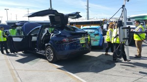 Tesla Model X is recharged from ChargePoint CT4000 mounted on an Ahern Energy solar-powered trailer.