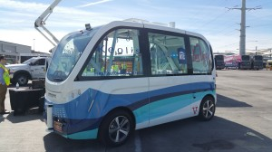 NAVYA autonomous electric shuttle bus exhibited by Keolis