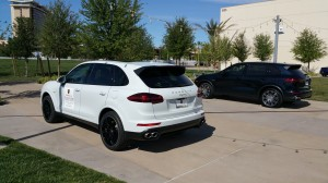 Gaudin Porsche provided two Cayenne S E-hybrids, each a plug-in hybrid SUV.