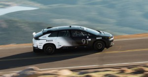 Faraday Future FF91 races at Pike's Peak International Hill Climb in Colorado Springs