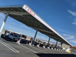 Tesla Supercharger site in Baker, CA has 40 stations available.