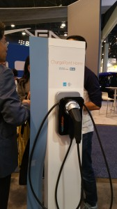 ChargePoint personal AC Level 2 EVSE available for home garages with mobile phone app and  Alexa voice-recognition commands connected.