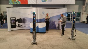 Tellus SAE J1772 AC Level 2 charging station display during CES 2018